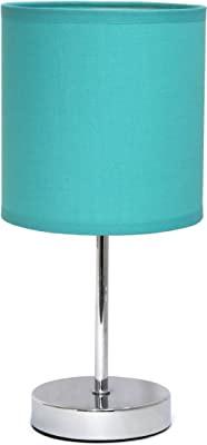 Simple Designs Mini lámpara Básica Cromada con Sombra de Tela Azul