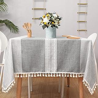 مفرش مائدة Vailge Farm house (55 بوصة × 86 بوصة)، مفارش طاولة مستطيلة من الخيش ، ضد الغبار في الهواء الطلق مع شرابة ، غطاء...