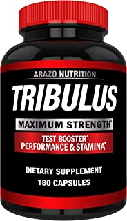 Tribulus Terrestris Extract Powder - Testosterone Booster with Estrogen Blocker - Arazo Nutrition USA - 180 Capsules