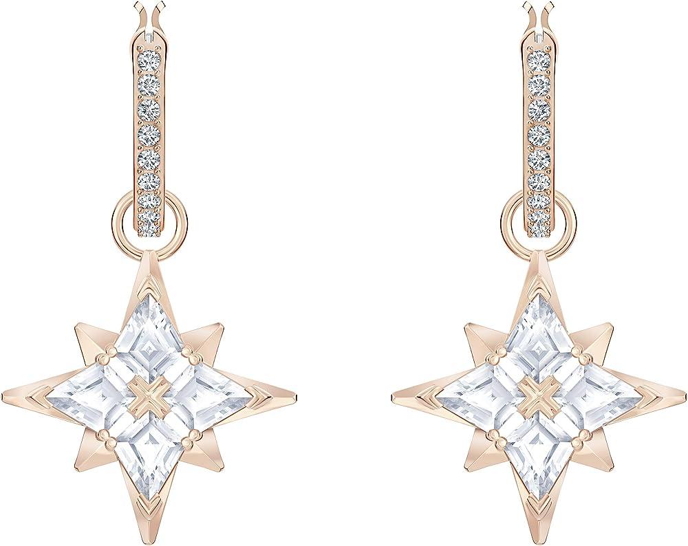Swarovski orecchini a cerchio symbolic star,placcati oro rosa 5494337