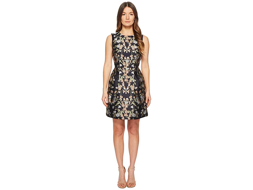 ML Monique Lhuillier Sleeveless Floral Jacquard Fit and Flare (Midnight Floral) Women