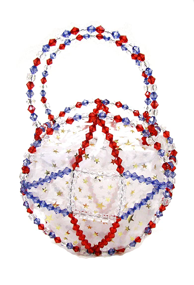 Linpeng Fiona Hand Made Wire Beaded Handbag with Patriotic Color Glass Beads, 7.5 x 7.5 x 4