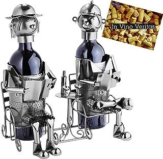 BRUBAKER Flessenhouder echtpaar metalen sculptuur geschenk met cadeaukaart