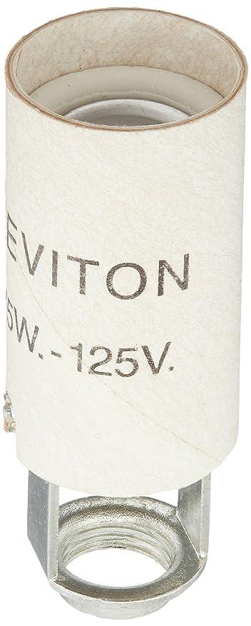 粗いインストラクター先史時代のLeviton 20025 Candelabra Base One-Piece Keyless Incandescent Unglazed Porcelain Lampholder, White [並行輸入品]
