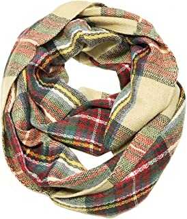 Fashionable Plaid Infinity Circle Scarf Long Plaid Winter Scarf