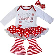 Kirei Sui Baby 1st Valentine's Day Red Polka Dots Bodysuit Tutu and Pants Set