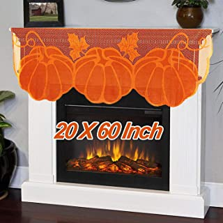 TURNMEON Fall Fireplace Decoration,Thanksgiving Lace Pumpkin Maple Leaves Mantle Scarves Fall Runner for Fireplace Thanksgiving Decorations Autumn Table Cover for Harvest Decor(20 x 60 Inch)