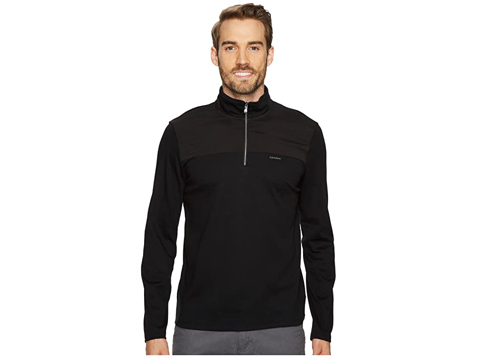 Calvin Klein Mixed Media 1/4 Zip Pullover (Black) Men