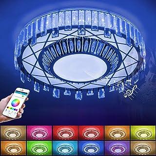 WVIVW Alexa LED Vaso Lamparas de Techo RGB Inteligente Bluetooth Musical Altavoz WiFi Cambio de Color Sala Estar Cristal Luces Plafón con Control Remoto y Luz de Colores Regulable App lluminacion,72W