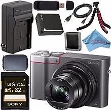 Panasonic Lumix DMC-ZS100 Digital Camera (Silver) DMCZS100S + DMW-BLG10 Lithium Ion Battery + External Rapid Charger + Sony 32GB SDHC Card + Small Case + Flexible Tripod Bundle