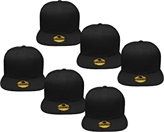 Gelante Plain Blank Flat Brim Adjustable Snapback Baseball Caps LOT 6 Pack