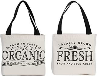 Reusable Grocery Bag Shopping Tote Extra Large Heavy Duty 12 oz Cotton Canvas Multi Purpose Durable & Machine Washable 20 ...