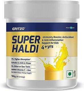 Gritzo SuperHaldi | Haldi Milk Mix | Immunity Booster for Kids with Natural Curcumin Extract, Vitamin C Powder & Zinc | Ha...