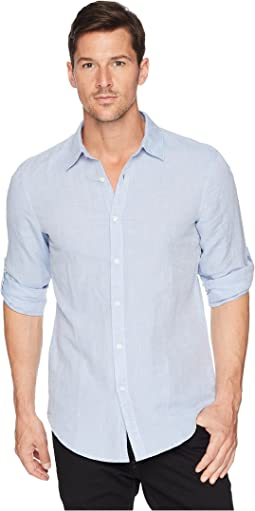 Slim Fit Solid Linen Roll Sleeve Shirt