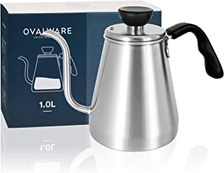 Pour Over Coffee Kettle and Tea Kettle 1.0L / 34oz - Ovalware RJ3 Stainless Steel Drip Kettle with Precision Gooseneck Spout for Home Brewing, Camping and Traveling (Renewed)