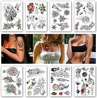 Kotbs 8 Sheets Geometric Lace Flowers Waterproof Temporary Tattoo Sticker Rabbit Dream Catcher Line Rose Flash Tattoos Body Art Arm Fake Tatoo