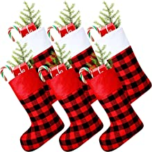 Skylety 6 Pieces Christmas Buffalo Plaid Stocking Classic Stocking Decorations Christmas Stockings with Plush Cuff for Fam...