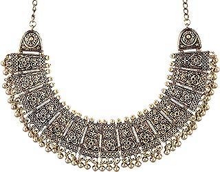 saissa Gold Tone Oxidised Metal Boho Gypsy Tribal Indian Choker Necklace Jewelry for Women