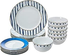 AmazonBasics 18-Piece Kitchen Dinnerware Set, Dishes, Bowls, Service for 6, Blue Accent