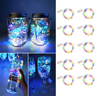 UNIQLED 10 Packs Starry String Lights Battery Operated Fairy Lights with 20 Micro LEDs Waterproof Copper Wire Firefly Night Lights for DIY Wedding Decor Party Christmas Holiday Decoration (4 Colors)