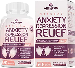 Happy Pills Natural Anti Anxiety Relief & Depression Supplement | Dopamine Mood Boost, Serotonin Support, Relieve Stress, ...