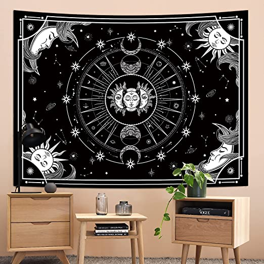 Sun and Moon Tapestry, Black and White Tapestry, Sun Moon Star Tapestry, Tapestries for Bedroom Aesthetic,Mystic Tapestry Wall Hanging Tapestry for Room Decor (51.2