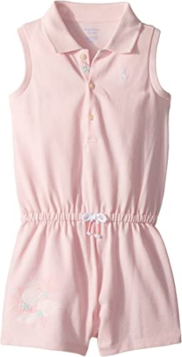 Cotton Sleeveless Polo Romper (Infant)