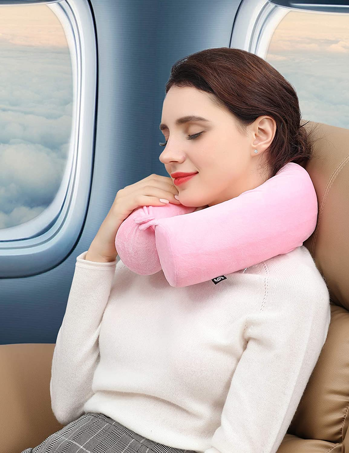 Bendable Roll Pillow with Washable Soft Cover Pink for Traveling on Airplane LEISIME Twist Memory Foam Travel Pillow for Neck Adjustable Chin Lumbar and Leg Support Bus or at Home Train