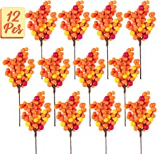 Whaline Orange Berry Twig Stem, 12 Pack Artificial Orange Berry Picks for Autumn Fall Decor, Christmas Tree Decorations, Crafts, Wedding, Holiday Home Decor
