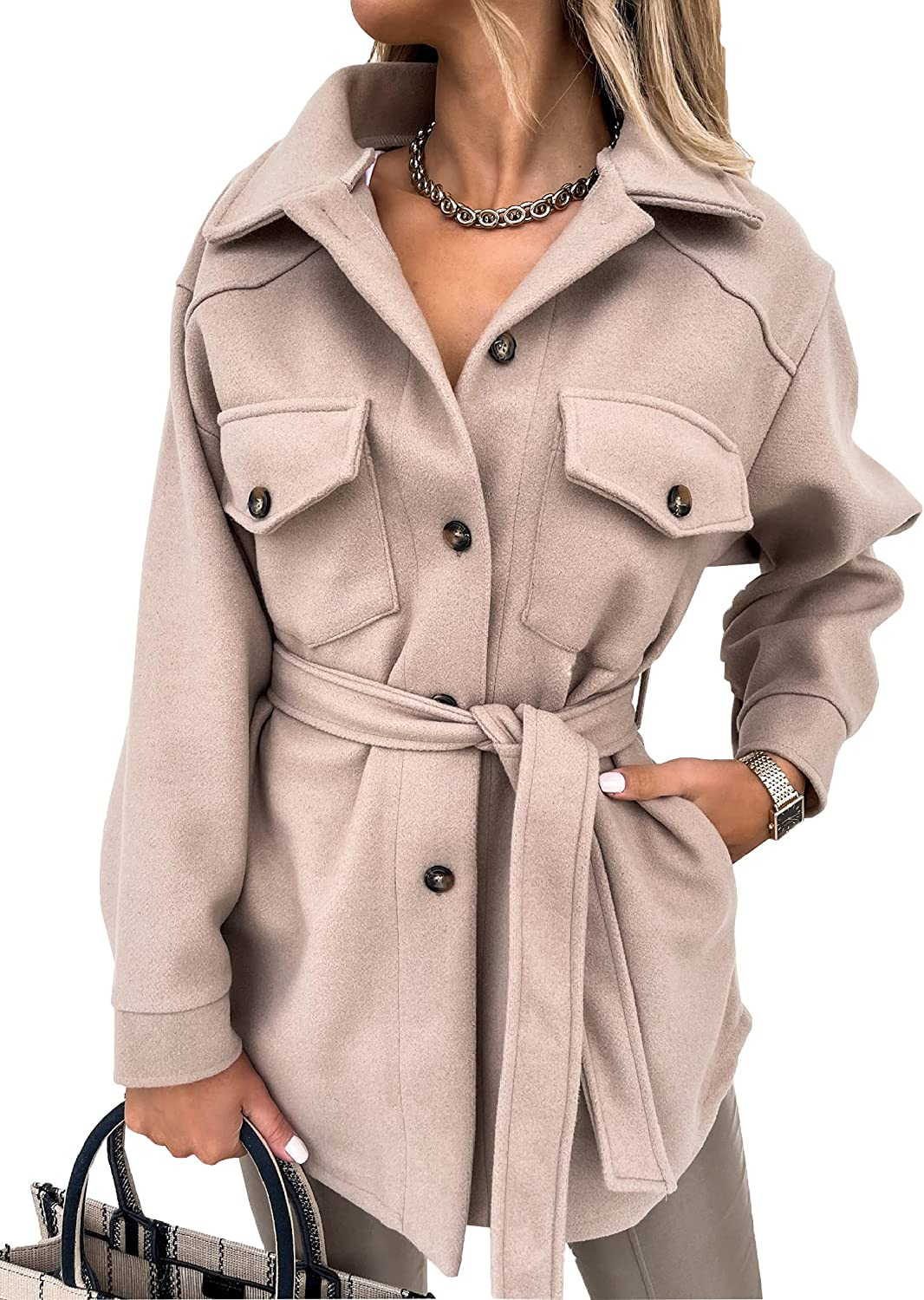Women Casual Single Breasted Trench Coat Solid Color Lapel Belts Tie-up Long Sleeve Outerwear with Pockets