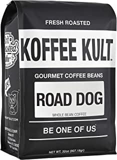 """Dark Roast, Whole Bean Colombian Coffee - Koffee Kult's Award-Winning """"Road Dog"""" Blend - 32 oz Full Body Arabica Coffee Beans - Rich, Sweet, Cocoa Finish - Fresh Roasted and Hand-Crafted by Artisans"""