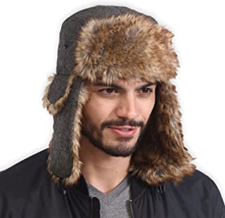 Trapper Hat - Winter Trooper Aviator Earflap Eskimo Hat - Fits Men, Women & Elmer Fudd - Russian Ushanka with Faux Fur & Ear Flaps for Cold Weather Hunting & Skiing - Waterproof, Windproof & Thermal