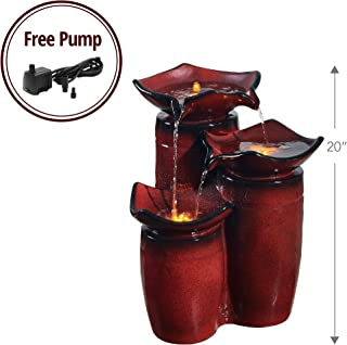 Peaktop - PF001 Outdoor Fountain, 3 Tier Glazed Pots Fountain, Gradient Red Water Fountain, 20