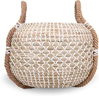 Modern Village Woven Basket for Plants, Decorative Blanket and Throw Basket from Woven Seagrass (White)