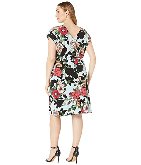 3152b3fdfc6 Adrianna Papell Plus Size Sweet Carolina Hibiscus Blouson Dress at ...