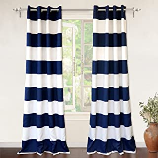 DriftAway Mia Stripe Room Darkening Grommet Unlined Window Curtains 2 Panels Each 52 Inch by 84 Inch Navy