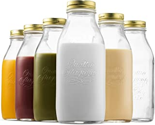 Bormioli Rocco Quattro Stagioni Glass Milk Bottle 33.75 Ounce/1 Liter with Airtight Lid, Great For Kombucha Brewing Bottle, Beer, Homemade Juicing, Smoothies, Beverages, Durable Construction. (6 Pack)