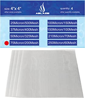 75 Micron 200 Mesh Screen Stainless Filter Material Particulate Capture Extracts Home Brewing Aquariums Biofuel 4''X4'' 4 Pack