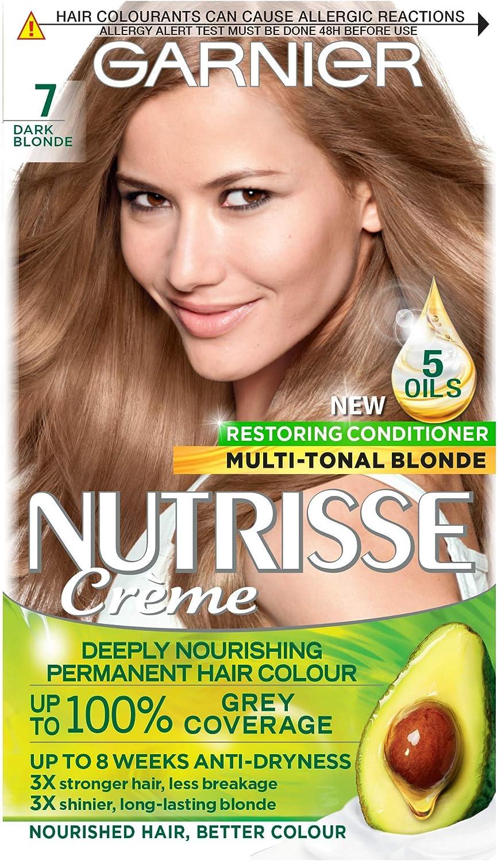 Garnier Nutrisse Tinte para cabello rubio permanente, hasta 100% cobertura de cabello gris, con acondicionador de 5 aceites, 7 rubio oscuro