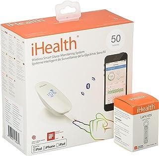 کیت تست قند خون بی سیم Smart iHealth برای iPhone و Android ، کیت تست دیابت بلوتوث با 50 نوار تست ، 50 لانکت ، راه حل کنترل ، قند خون هوشمند برای سنجش قند خون