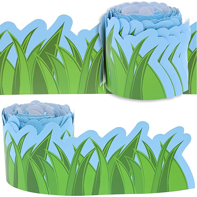 Juvale 12-Pack Bulletin Board Grass Design Scalloped Border Decoration for Classroom, 3 x 36 Inches