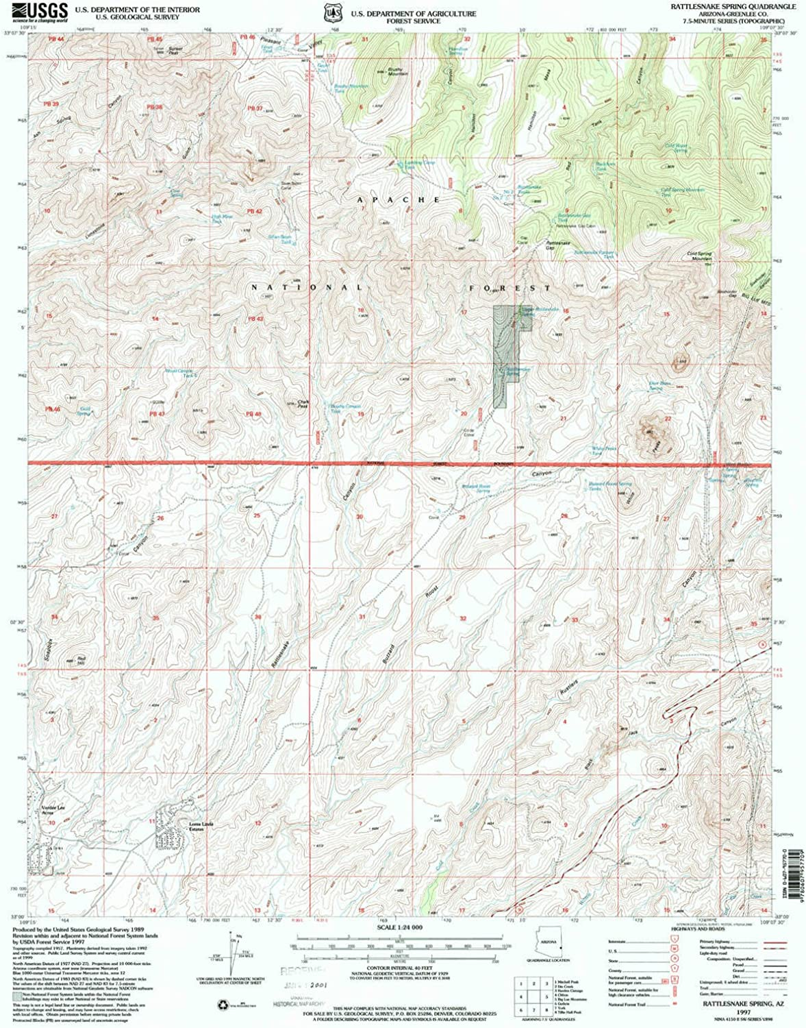Rattlesnake Spring AZ topo map, 1 24000 Scale, 7.5 X 7.5 Minute, Historical, 1997, Updated 2000, 26.7 x 21.5 in