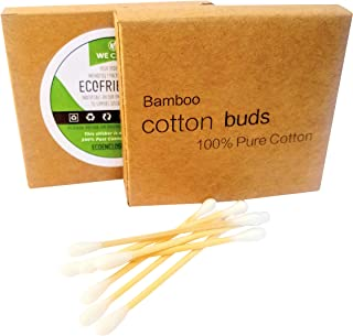 Bamboo Cotton Swabs, Eco Friendly, Recyclable & Biodegradable 100% pure cotton buds, (200 count)