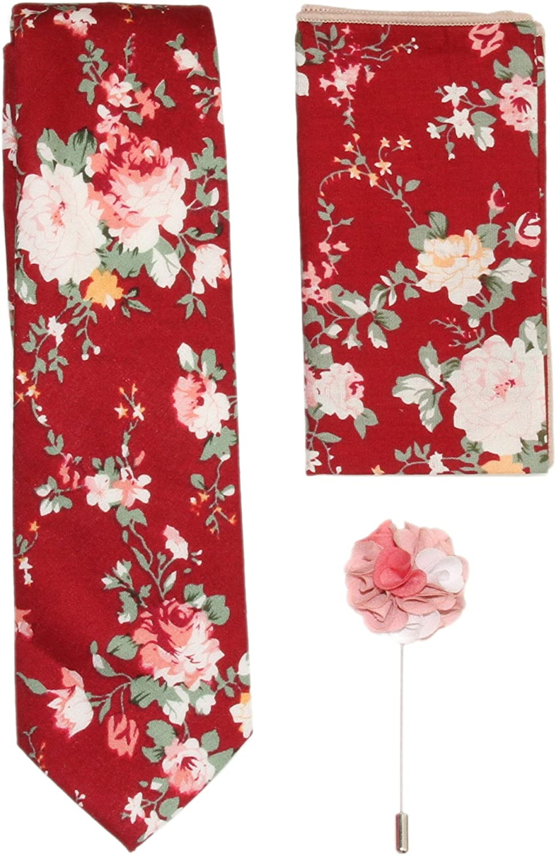 3 Piece ~ Men's Wine Red Floral Slim Neck Tie 8