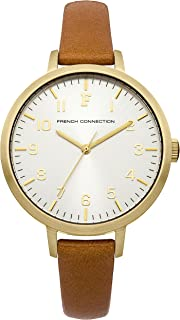 French Connection Women's Quartz Rosebery White Dial Quartz Watch for Women with Gold Case and Camel Calf Leather Strap analog Display and Leather Strap, FC1248TA