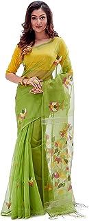 SareesofBengal Women's Handloom Dhakai Muslin Jamdani Silk Saree Fern Green