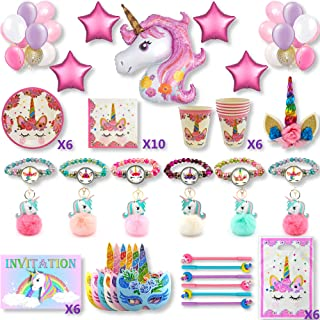 Kit fête d'anniversaire fille thème licorne 6pers:Décoration murale (ballons de baudruche étoiles licorne)& de gâteau Invi...