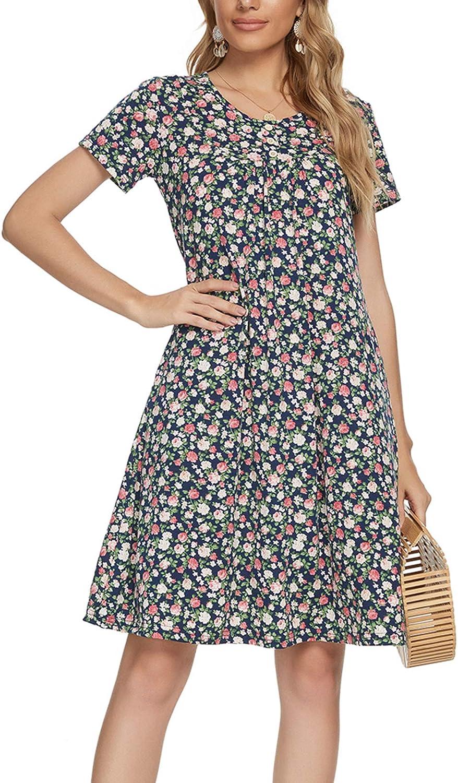 Kyonuza Women's Short Sleeve Round Neck Swing Dresses Button Decor Tunic Dress with Pockets