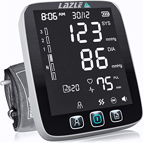 LAZLE Blood Pressure Monitor - Automatic Upper Arm Machine & Accurate Adjustable Digital BP Cuff Kit - Largest Backli...