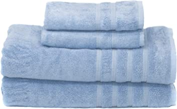 700 GSM Luxury 4-piece Oversized Bath Bundle Set - Allure Blue - Bamboo & Turkish Cotton, Resort Style, Hotel Quality - 4 pc includes 2 Bath Sheets (XL Bath Towel) 35X70 and 2 Hand Towels 16X30